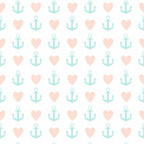 Abstract Simple Seamless Pattern Background with Anchor and Heart Symbol. Vector Illustration