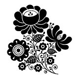 Russian design, folk art black and white flowers pattern
