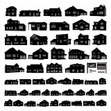 Black residential house silhouette isolated on white