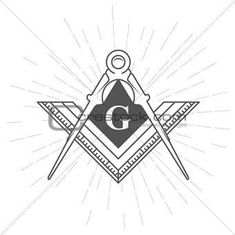 Freemason symbol - illuminati logo with compasses and ruler