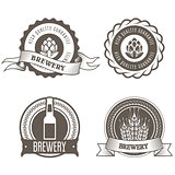 Beer and brewery emblems with hop buds