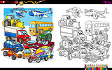 transport vehicles group coloring page