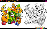 cartoon fruits coloring page