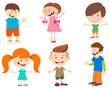 cartoon set of kid characters