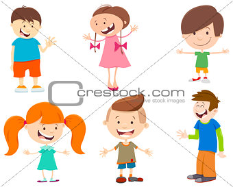 cartoon set of kid characters