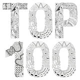 Word TOP 100 for coloring. Vector decorative zentangle object