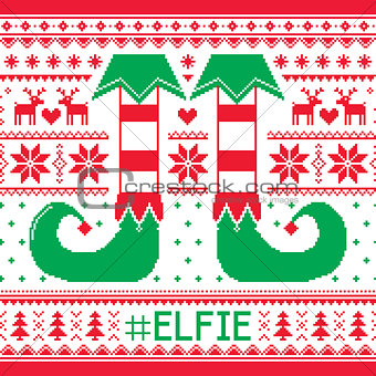 #Elfie, Elfie Christmas seamless pattern, ugly jumper decoration with elf legs