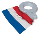 symbol for feminine and flag of the netherlands - 3d rendering