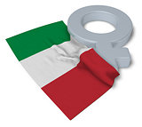 symbol for feminine and flag of italy - 3d rendering