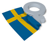 female symbol and flag of sweden - 3d rendering