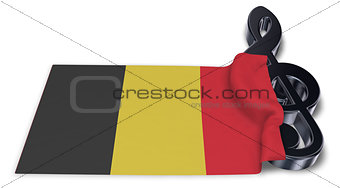 clef symbol and flag of belgium - 3d rendering
