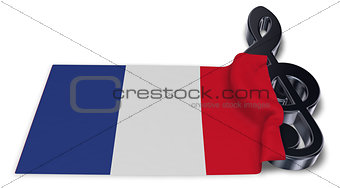 clef symbol and flag of france - 3d rendering