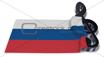clef and russian flag - 3d rendering