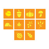 Flat color autumn season icon set