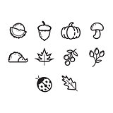 Thin line autumn season icon set