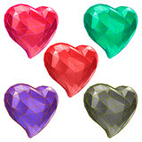 Set of hearts with faceted low-poly geometry effect