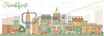 Abstract Frankfort Skyline with Color Buildings.