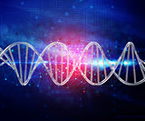 Abstract techno background with 3D DNA strand