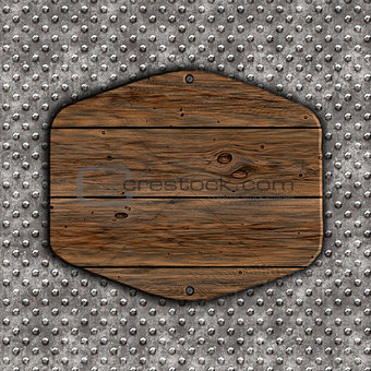3D grunge wood sign on a metal background