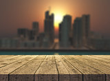 3D wooden table looking out to a fictional city landscape