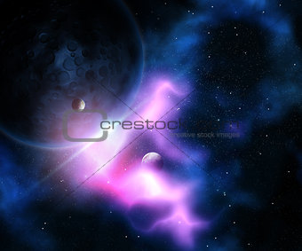 3D abstract fictional space scene
