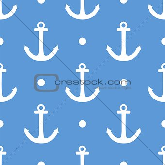 Tile sailor vector pattern with white anchor