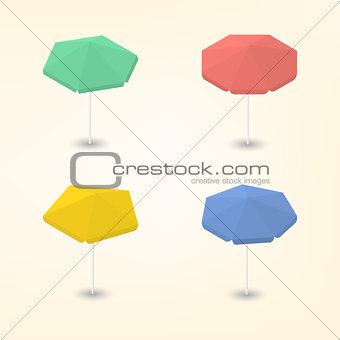 Bright beach umbrella 3D, vector illustration.