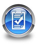 Checklist icon glossy blue round button
