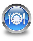 Food plate icon glossy blue round button