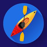 Kayak and paddle icon vector. Outdoor activities. Yellow red kayak, sea kayak flat icon