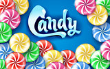 Sweet lollipop candy colorful background.
