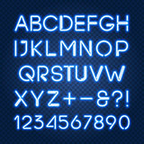 Glowing blue neon lights alphabet and numbers