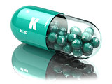 Potassium K element pill. Dietary supplements. Vitamin capsules.