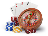 Casino o gambling concept. Roulette, casino chips, cards and dic