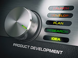 Product developmend cycle concept. Knob with stages of product d