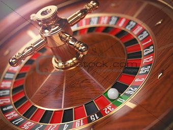 Casino roulette wheel background. Zero.