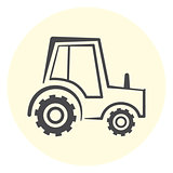 Cute outline tractor icon