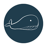 White outline whale icon