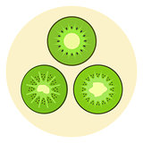 Set of cute kiwi icons, kiwi split in a half