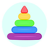 Raindow stacking rings icon