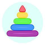 Raindow stacking rings icon