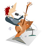 Let be where rock. Cartoon man is playing guitar isolated