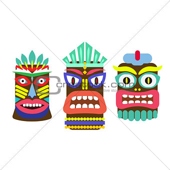 Tiki mask cartoon vector set.