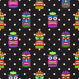 Tiki mask seamless polka dot dark pattern vector.