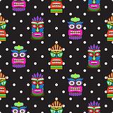Tiki mask seamless polka dot dark pattern vector.