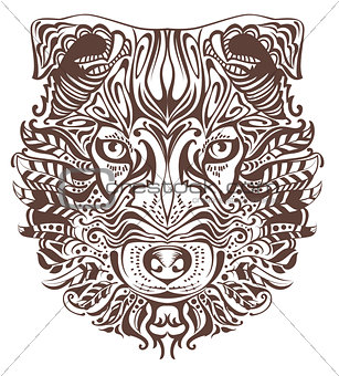 Abstract graphic drawing of dog head