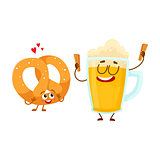 Happy aluminium beer mug and pretzel characters having fun together