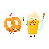 Happy aluminium beer mug and pretzel characters having fun together