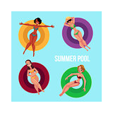 Banner, poster template with girls on inflatable rings in pool