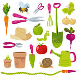 Gardening tools and vegetables vector icons